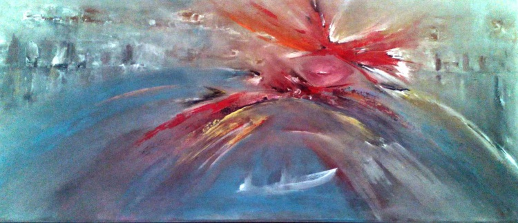 MUSE -  original acrylic painting on stretched canvas 90x40x2cm - Image 0