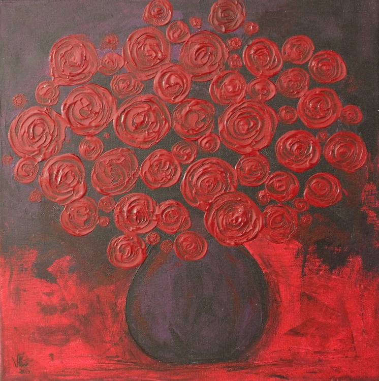Abstract Roses Flower Vase-Impressionistic Acrylic Painting, Ready to hang - Image 0