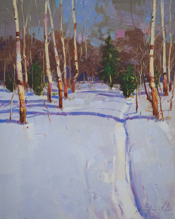 Landscape Winter Original oil painting  Handmade artwork One of a kind - Image 0