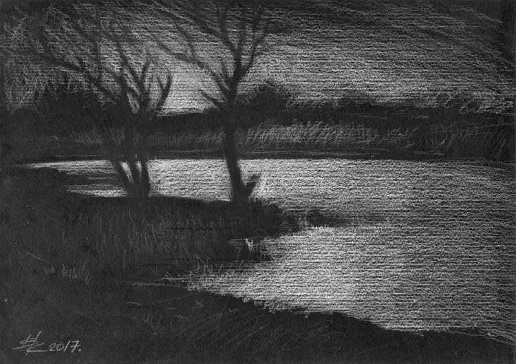 Spring on the lake #1  29.5X21cm -
