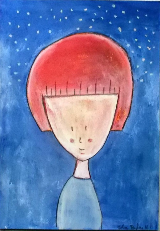 girl with red hair original painting- funny illustration - girl portrait wall art - Image 0