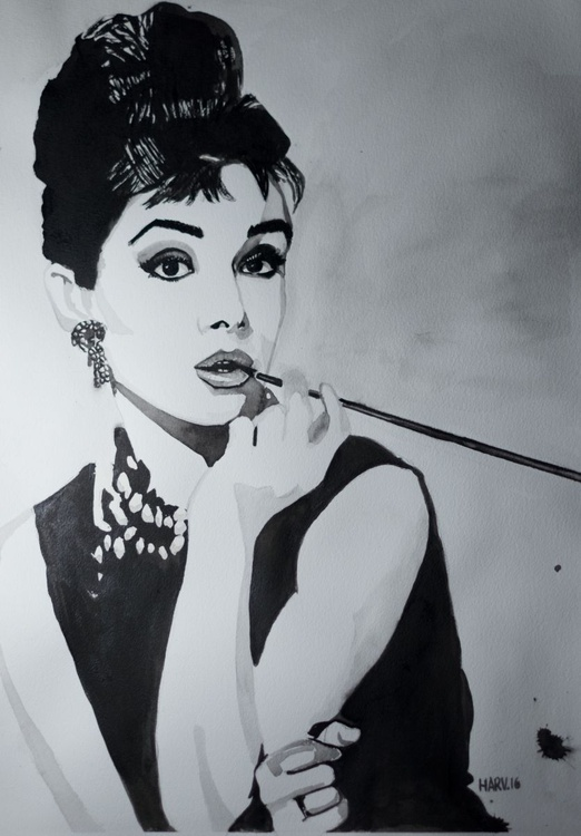 Audrey Hepburn - A portrait of an American movie star - water colour / paper / celebrity / painting / Audrey/ Hepburn / beauty / beautiful - Image 0