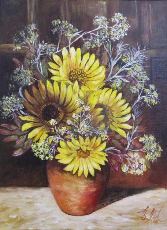 Sunflowers in Terracotta Jug - Image 0