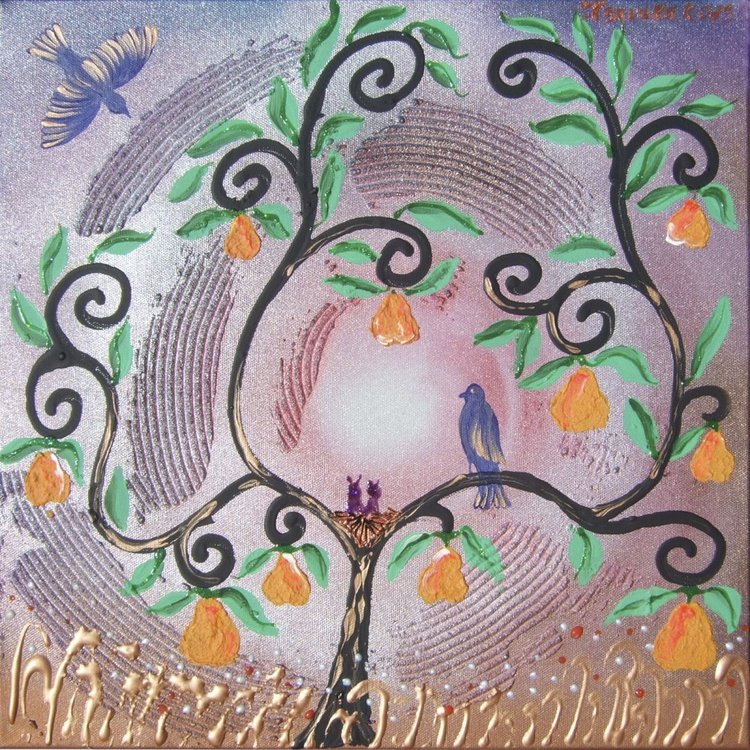 Pear tree and blue birds textured painting 14 original floral art 40x40x2 cm stretched canvas wall art by artist Ksavera - Image 0