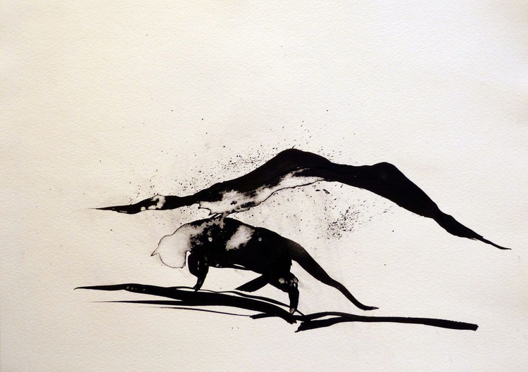 The Wandering Cat, ink drawing 29x42 cm - Image 0