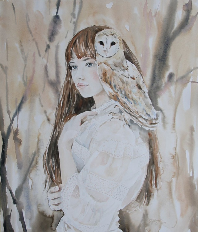 Girl with owl (Alena) - Image 0