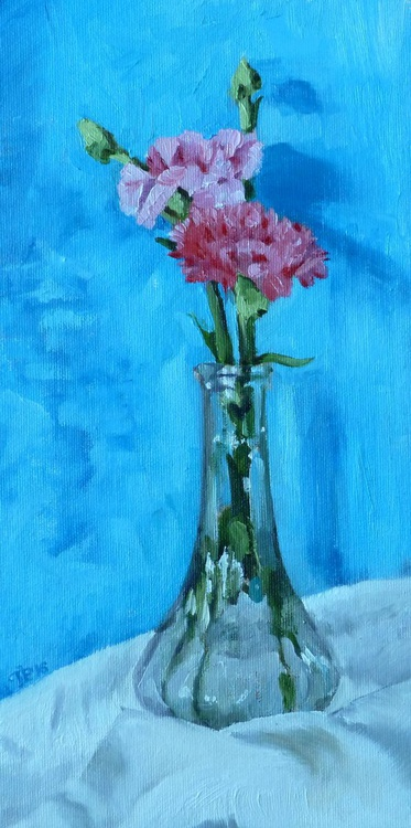 Two carnations in a glass vase - Image 0