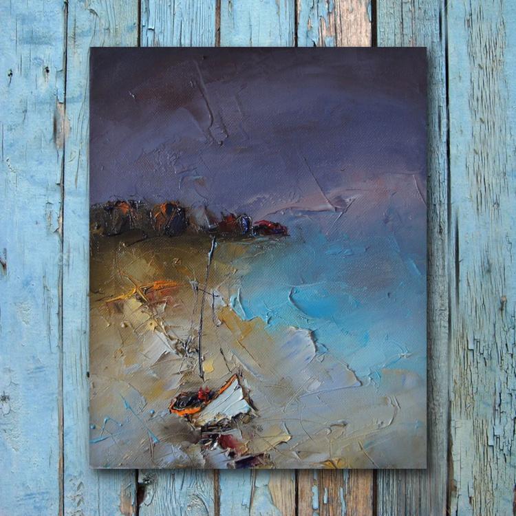 Seaside 2, Modern seaside painting, free shipping - Image 0