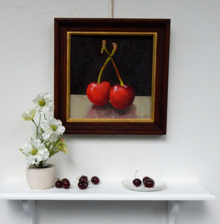 First cherries of this summer. Still life, 25x25cm - Image 0