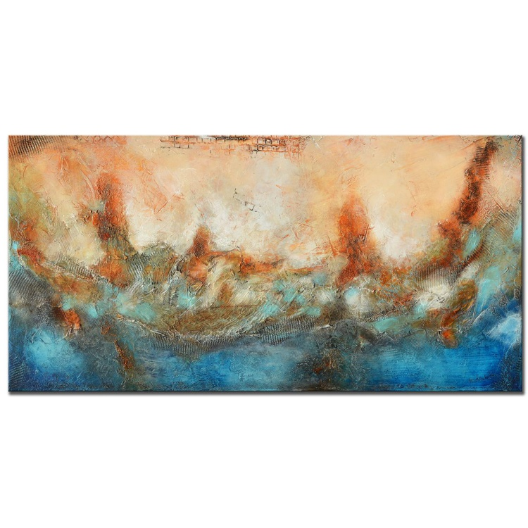 Blue Rust Abstract Painting, Blue Orange Large Abstract Painting, Large Blue textured painting, Huge abstract art, Blue Orange Rust Painting - Image 0