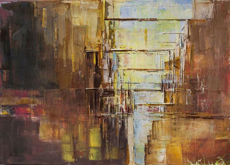 "Abstract painting ""City VIII"".100% authentic, oil painting on cotton canvas. Unique impasto texture.39.37/27.5(100/70cm). - Image 0"