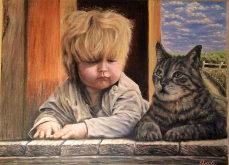 Boy with cat -