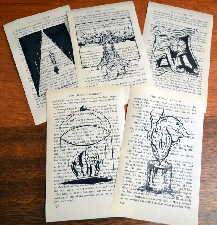 Collection Of Five Ink Drawing On Book Paper - Image 0