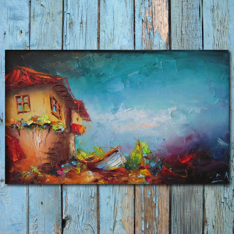 Summer impression, oil painting, free shipping - Image 0