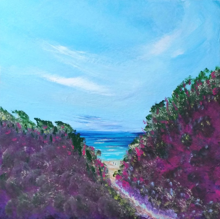 Chapel Porth - Landscape, heather, Cornwall, Modern Art Office Decor Home - Image 0