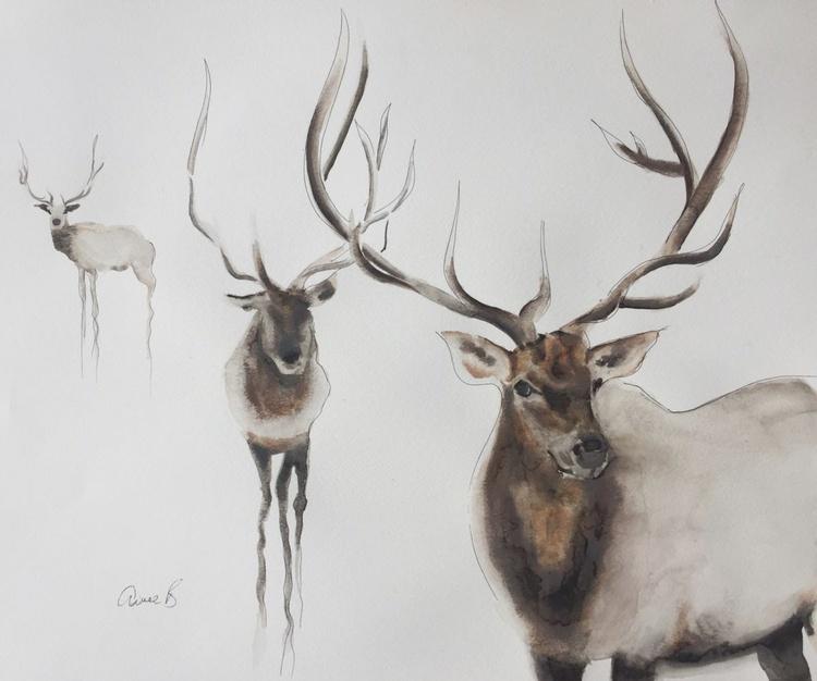Three Elks large painting - Image 0