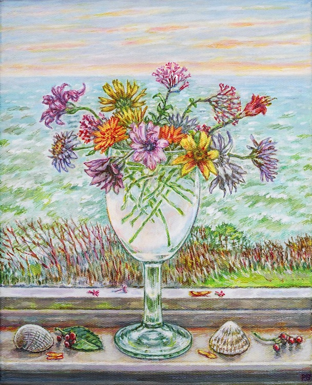Seaview with Glass of Winter Flowers Ventnor IOW - Image 0