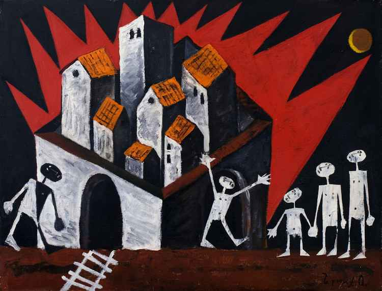 Fire in the town. 1999. Oil, canvas. 50x65 cm -