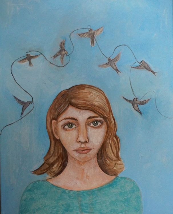 Dreamer with Swallows Acrylic on Canvas Painting - Image 0