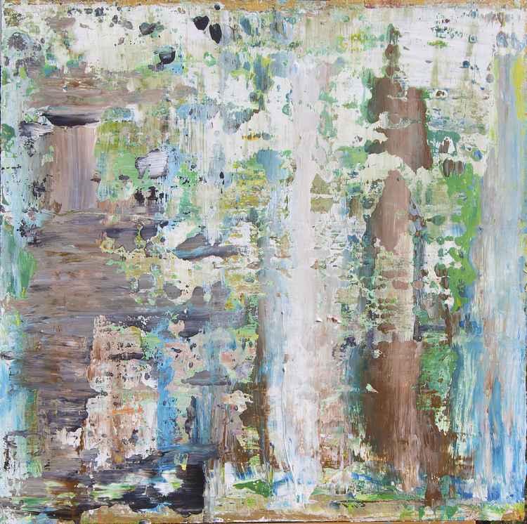 Enjoying Summercoffee. Acrylic painting 60 x 60 cm. on hardwood panel. Unframed.