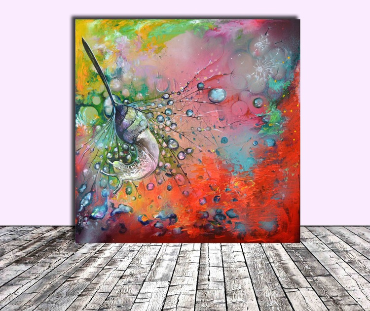 The Dream - 100x100 cm, FREE SHIPPING, Large Modern Ready to Hang Snail Painting, Office, Hotel, Restaurant Wall Decoration - Image 0