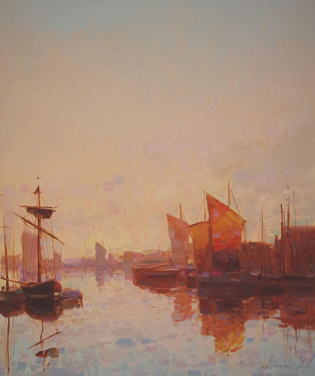 Harbor  Original oil painting  Handmade artwork One of a kind Signed with Certificate of Authenticity - Image 0
