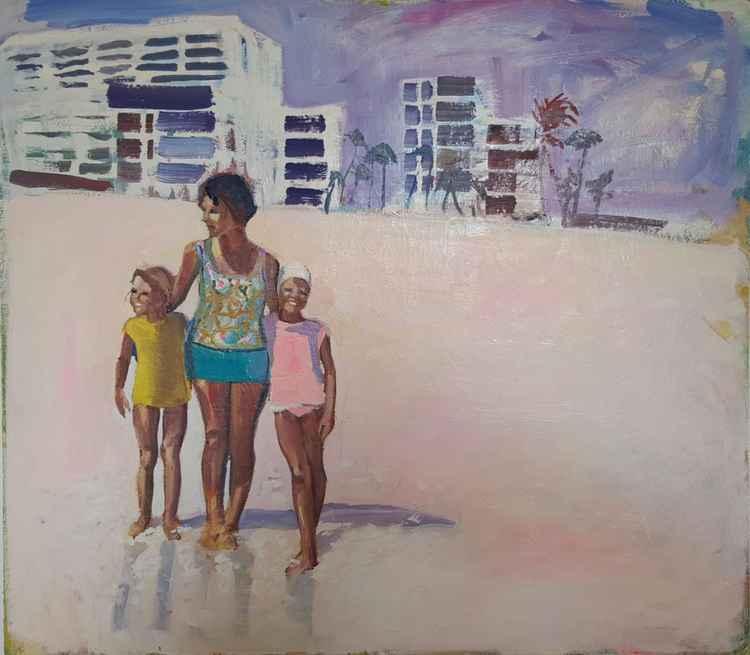 Mother & Children on Beach