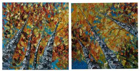 Diptych - Colorado Autumn paintings by Lena  Owens