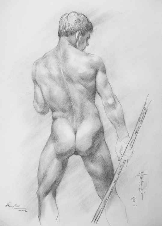 ORIGINAL DRAWING SKETCH CHARCOAL BOY ON PAPER#11-12-06 -