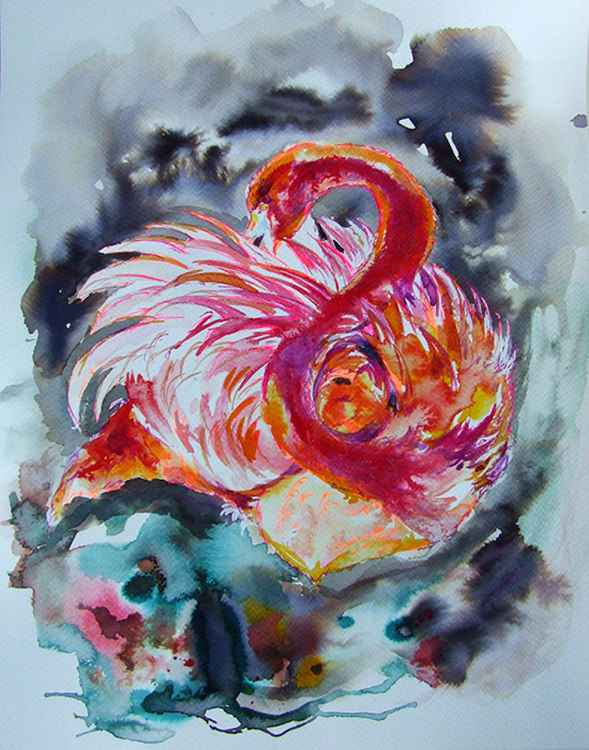 Portrait of Flamingo/ Watercolour -