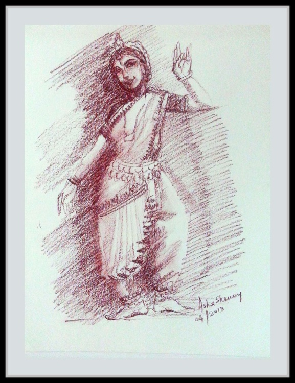 Conte pencil sketch -Indian Dancer - Image 0