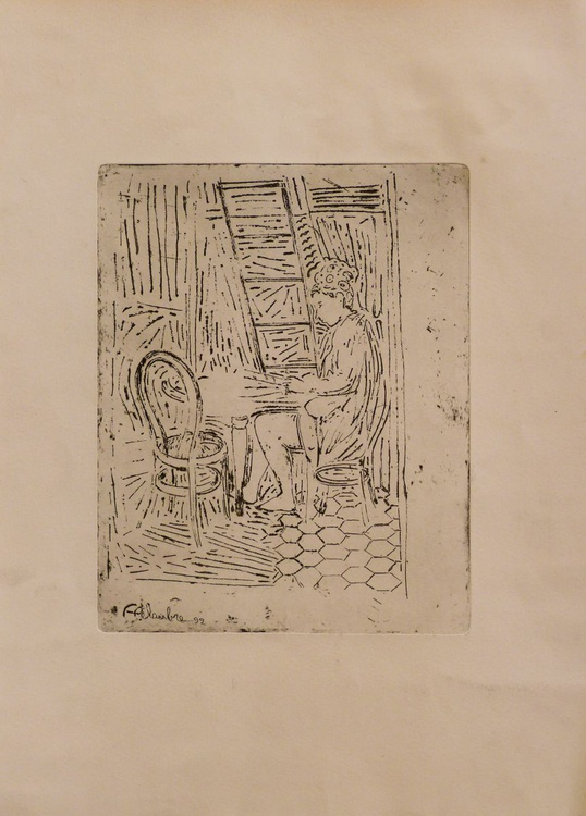 Agatha in the kitchen 1, engraving from copper plate 31x43 cm - Image 0