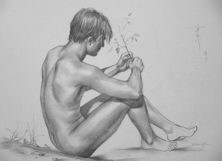 original art charcoal drawing  male  nude outdoor on paper #16-10-9 - Image 0