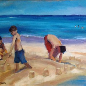 Boys and Sandcastles by Claudia Verciani