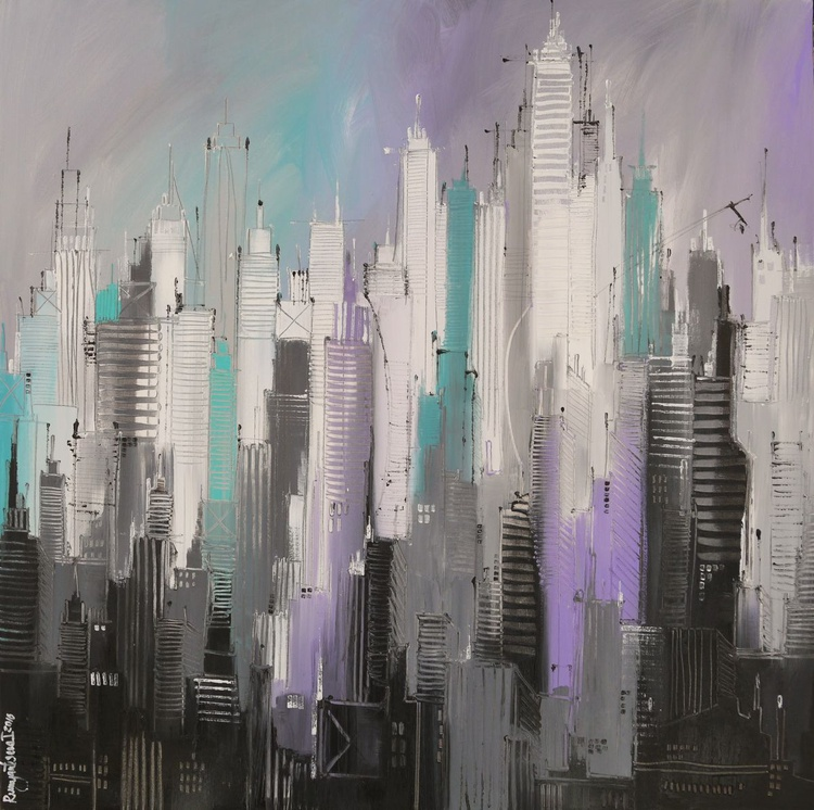 Inner City Lights - Large 1m x 1m, ready to hang - Image 0