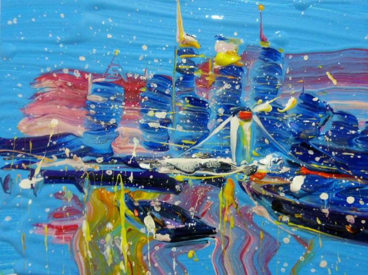 Evening city, mini art 20x15 cm - Image 0