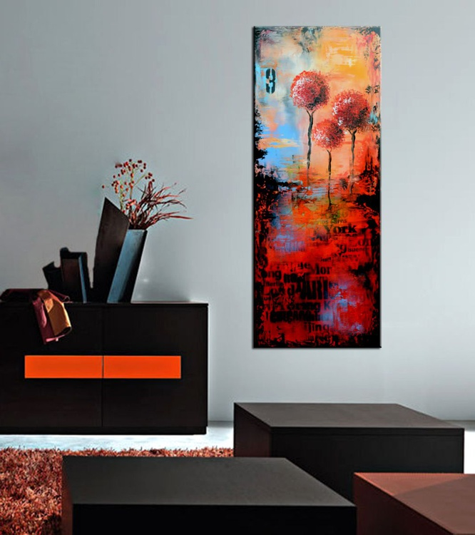 "Confidants  - Large 40"" Orange and Red Abstract urban art, Modern Cityscape Painting, Original Wall Art - Image 0"