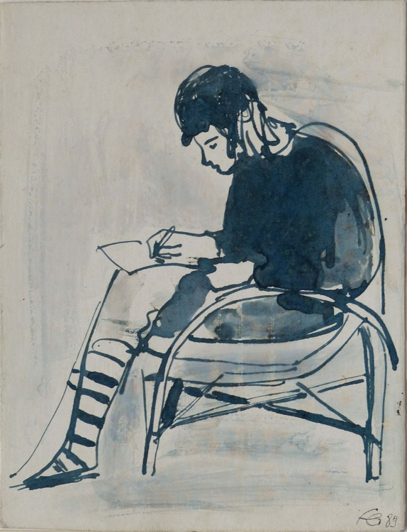 Woman writing a Letter, ink drawing, life study for a painting, 16x21 cm - Image 0