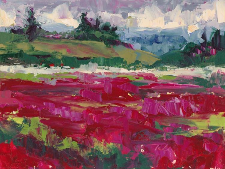 Clover Hills - abstracted palette knife landscape - Image 0