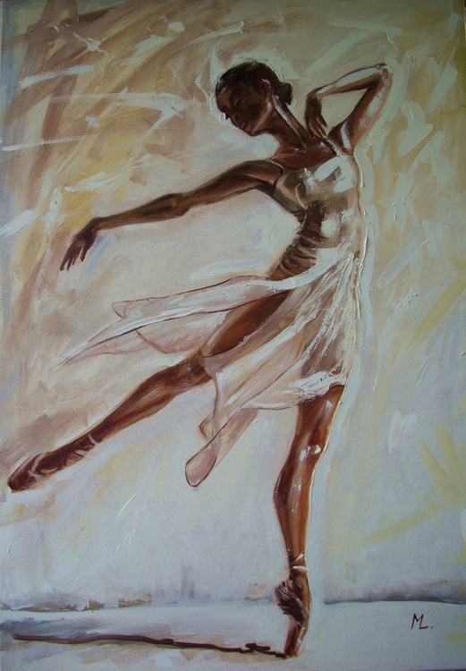 """"""" BUTTERFLY """"- LARGE 100X70CM ballerina brown light  ORIGINAL OIL PAINTING, GIFT, - Image 0"""