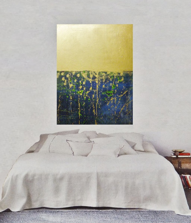 Sunset by the sea,original abstract,blue,gold painting - Image 0