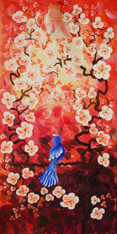 Cherry blossom 51 and blue bird painting flowers decor original floral art 50x100x2 cm stretched canvas acrylic sakura art wall art by artist Ksavera - Image 0