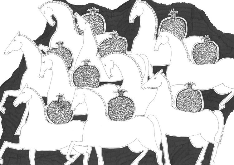 HORSES WITH POMEGRANATES - Image 0