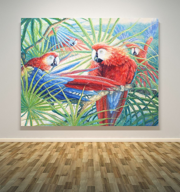 a large oil painting of scarlet macaws in the Amazon jungle - Image 0