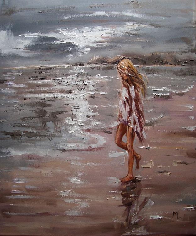 """ CLOUDY ... "" SEA original painting palette knife GIFT MODERN URBAN ART OFFICE ART DECOR HOME DECOR GIFT IDEA - Image 0"