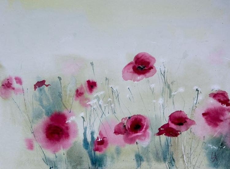 """summer melody"", original watercolour painting, 15.7""x 11.8""(40x30cm), ready to hang - Image 0"