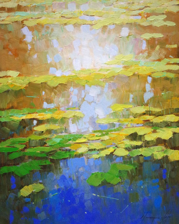 Water lilies - Fall, Original oil Painting, Impressionism, Handmade artwork, One of a Kind - Image 0