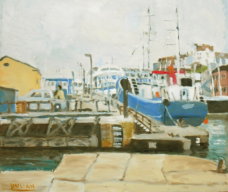 """Blue boat at Ramsgate Harbour. An original oil painting. 12"""" x 10"""" Lovely Gift! - Image 0"""