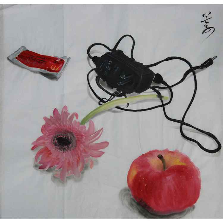 Flower,apple and charger -