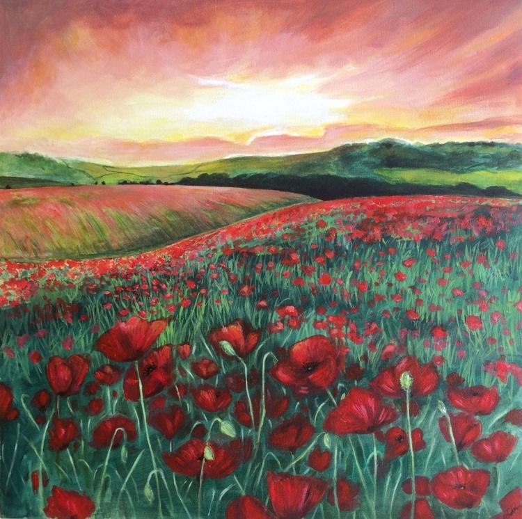 'Poppy Field at Dusk' - Image 0